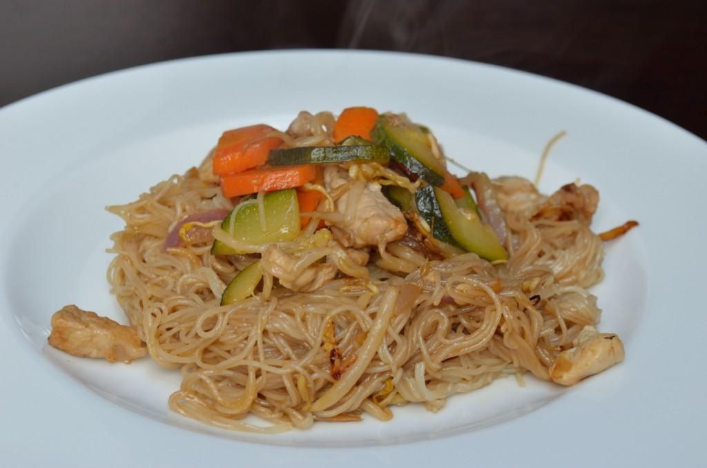 spaghetti di soia con carne