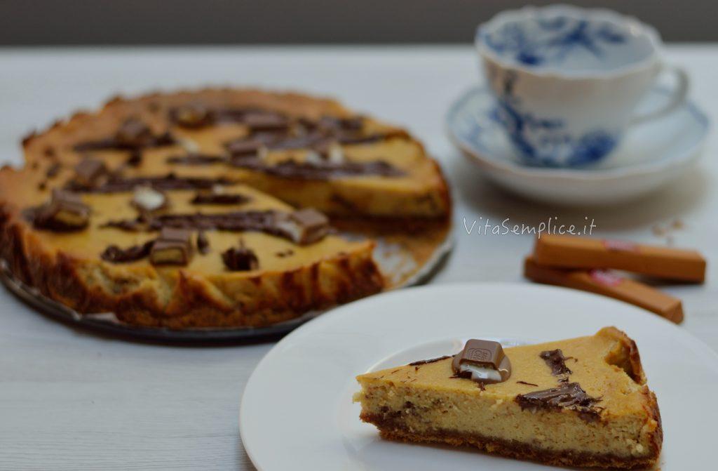 cheesecake alle barrette al cioccolato e caramello